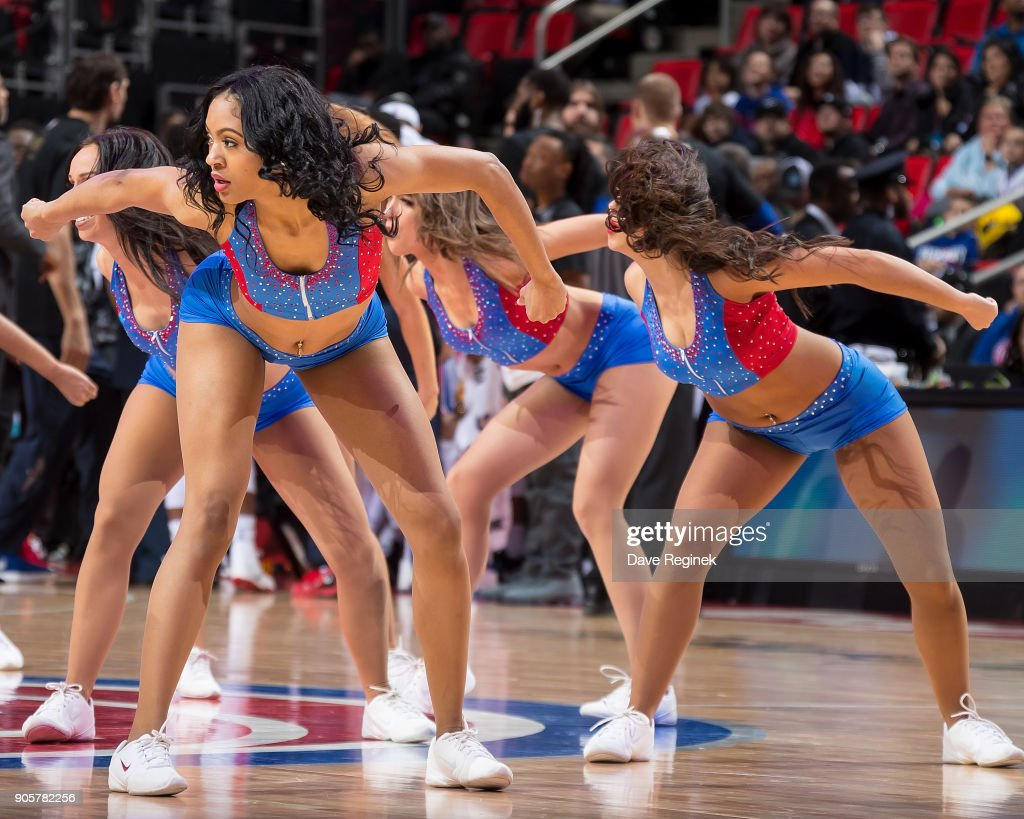 The Pistons dancers entertain the fans on a play stoppage during the an NBA game between the Detroit Pistons and the Charlotte Hornets at Little Caesars Arena on January 15, 2018 in Detroit, Michigan.