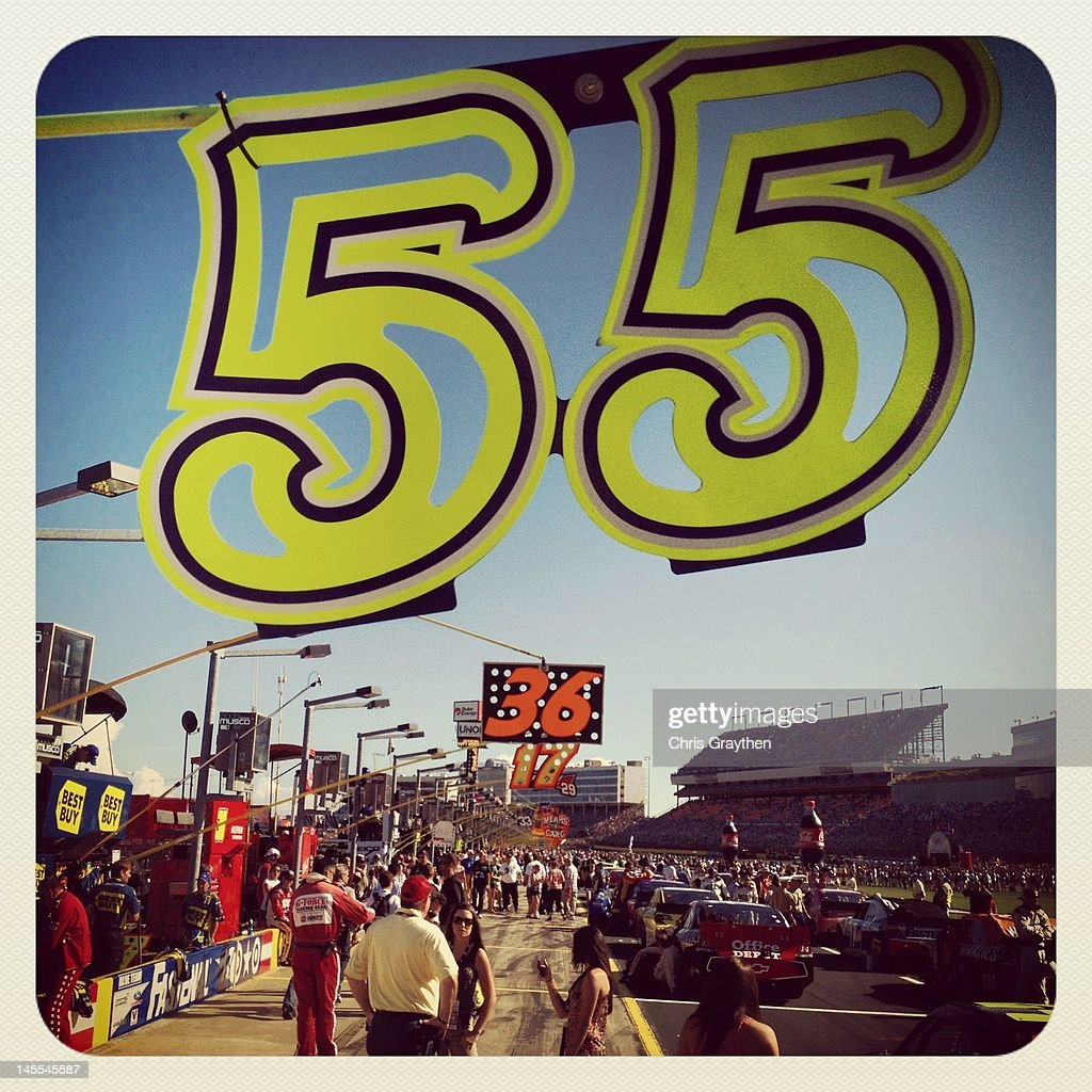 The pit board for Mark Martin, driver of the #55 Aaron's Dream Machine Toyota is seen prior to the NASCAR Sprint Cup Series Coca-Cola 600 at Charlotte Motor Speedway on May 27, 2012 in Concord, North Carolina.