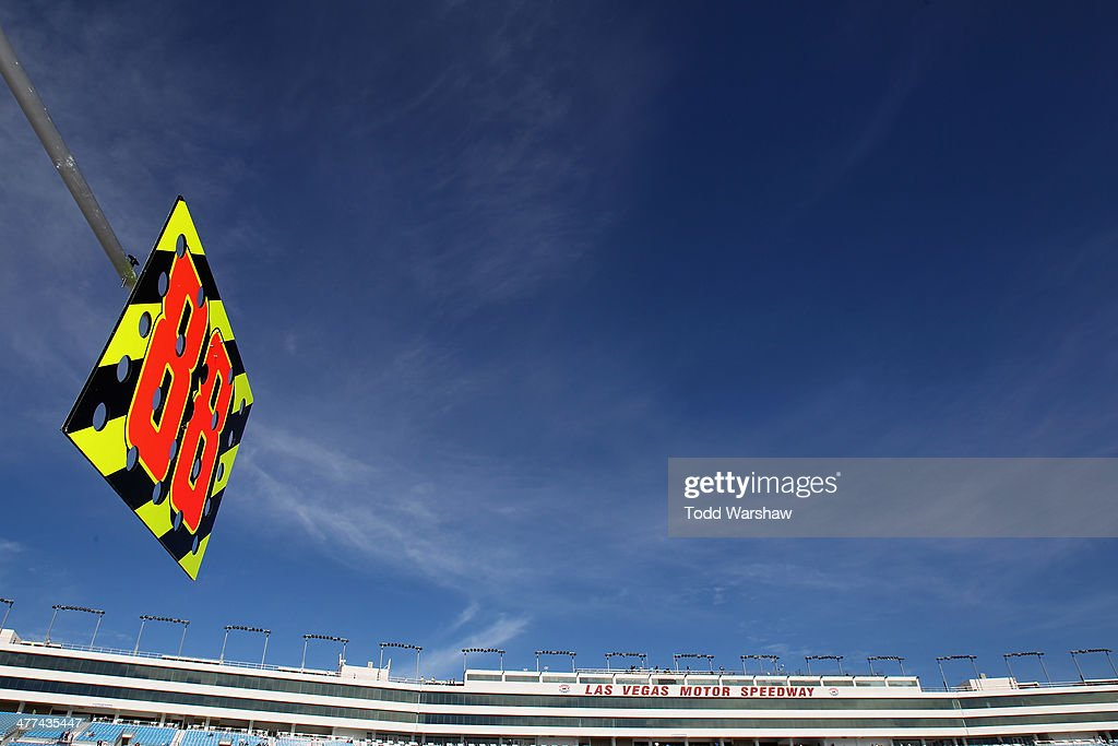The pit board of Dale Earnhardt Jr. (not pictured), driver of the #88 Mountain Dew Kickstart Chevrolet, is seen hanging on pit road before the NASCAR Sprint Cup Series Kobalt 400 at Las Vegas Motor Speedway on March 9, 2014 in Las Vegas, Nevada.