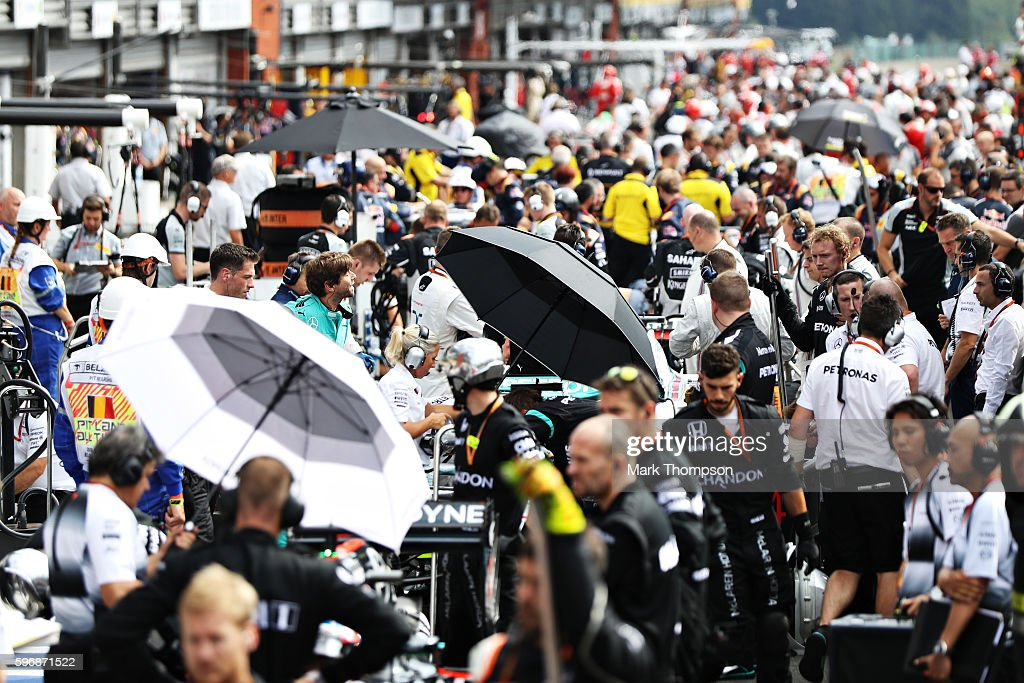 The pit lane during the red flag period during the Formula One Grand Prix of Belgium at Circuit de SpaFrancorchamps on August 28 2016 in Spa Belgium