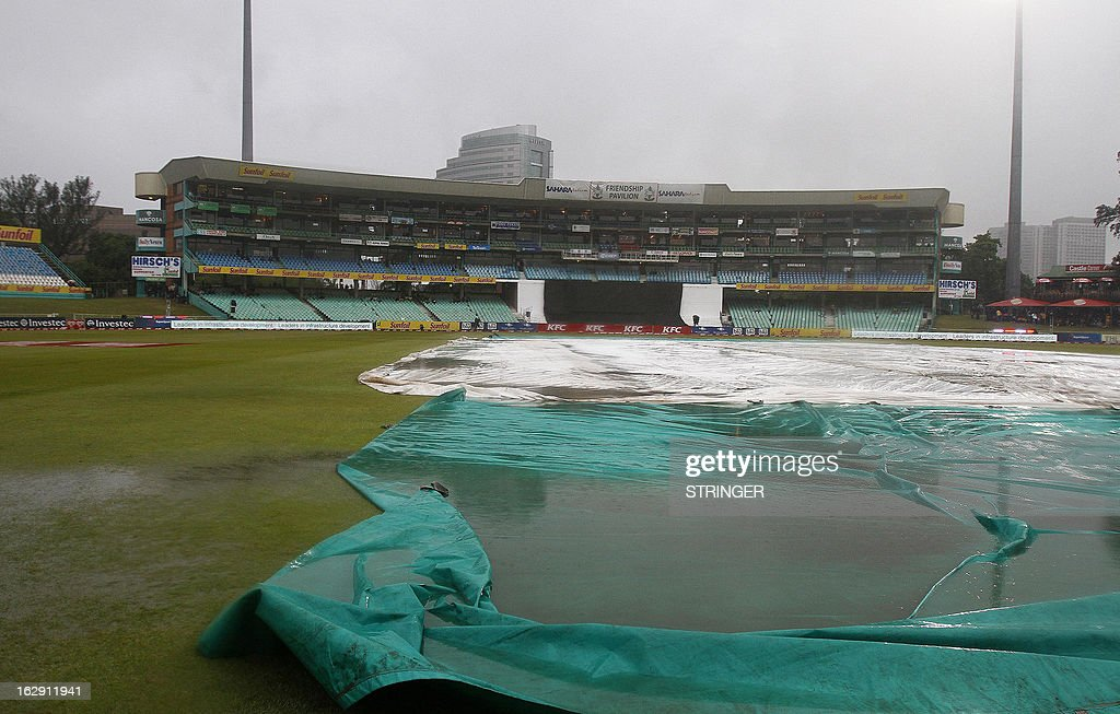 The pitch covers remain waterlogged after the match was abandoned without a ball being bowled during the 1st T20 match between South Africa and Pakistan on March 1, 2013 at Sahara Stadium in Durban, South Africa. Steady rain threatened to wash out the first Twenty20 international between South Africa and Pakistan at Kingsmead here on Friday.