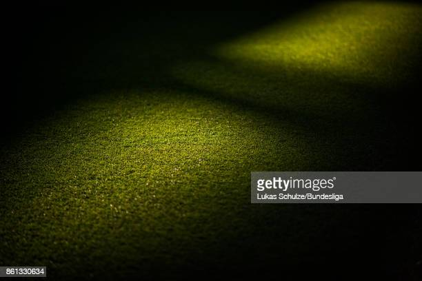 The pitch is lit by the sun prior to the Bundesliga match between Borussia Dortmund and RB Leipzig at Signal Iduna Park on October 14 2017 in...