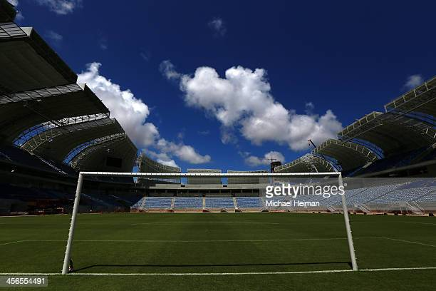 The pitch is seen as construction continues at the Estadio das Dunas on December 13 2013 in Natal Brazil The stadium will host matches during the...