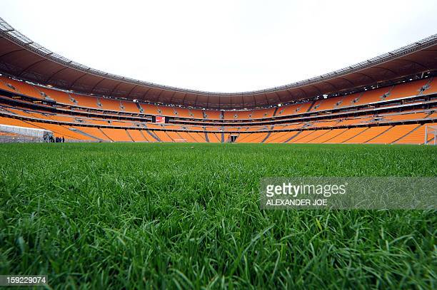 The pitch of the Soccer City Stadium in Soweto on May 3 2010 is pictured nearly a month before the opening match of the 2010 FIFA World Cup between...