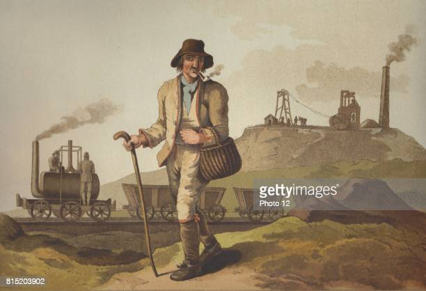 from George Walker 'The Costume of Yorkshire' Leeds 1814 The steam locomotive is the one built by Matthew Murray for John Blenkinsop and used to haul...