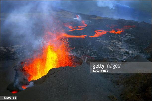 The 'Piton de la Fournaise' a volcano on La Rcunion Island which erupted at 430 AM In France On November 16 2002