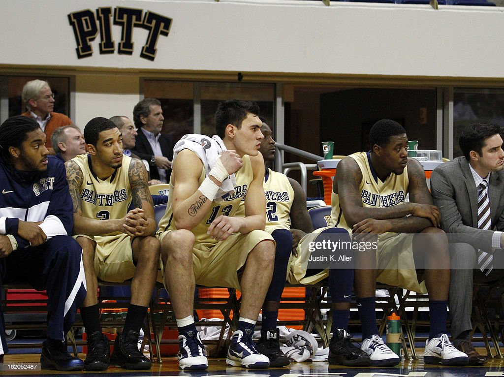 The Pittsburgh Panthers sit on the bench as the game comes to an end against the Notre Dame Fighting Irish at Petersen Events Center on February 18, 2013 in Pittsburgh, Pennsylvania. Irish won 51-42.