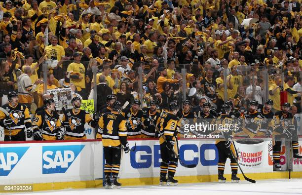 The Pittsburgh Penguins celebrate a goal by Phil Kessel during the second period of Game Five of the 2017 NHL Stanley Cup Final against the Nashville...