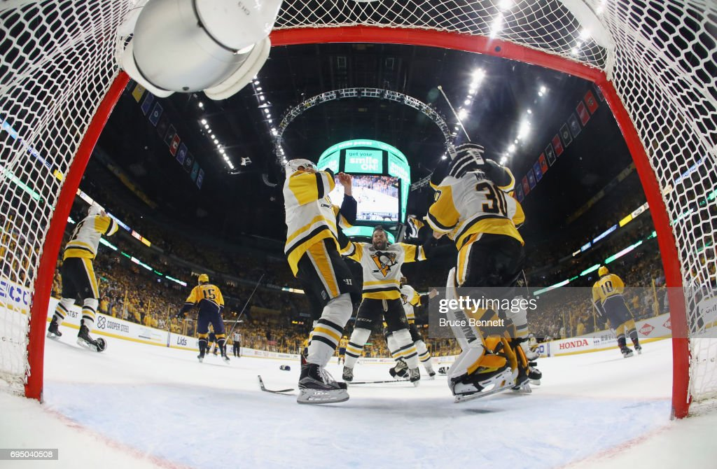 The Pittsburgh Penguins celebrate their 2-0 victory over the Nashville Predators in Game Six of the 2017 NHL Stanley Cup Final at the Bridgestone Arena on June 11, 2017 in Nashville, Tennessee.