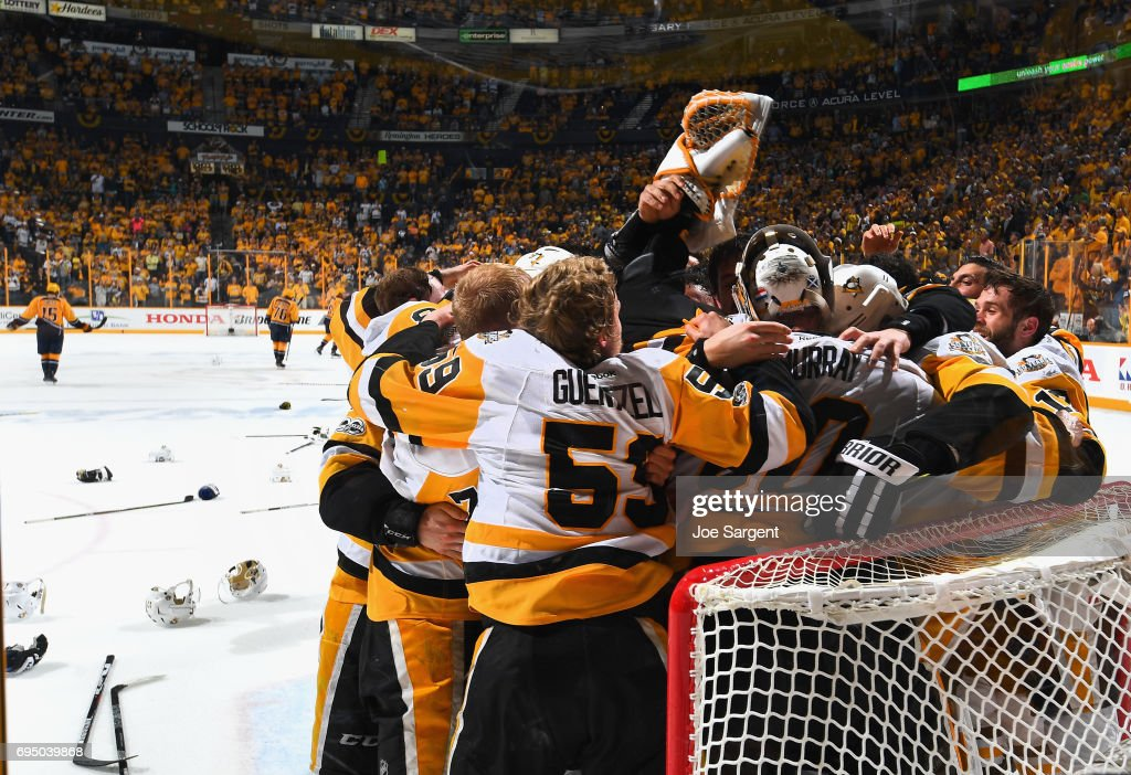 The Pittsburgh Penguins celebrate winning the Stanley Cup after they defeated the Nashville Predators 2-0 in Game Six of the 2017 NHL Stanley Cup Final at Bridgestone Arena on June 11, 2017 in Nashville, Tennessee. The Penguins won the series 4-2.
