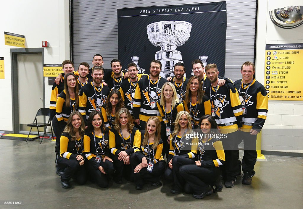 The Pittsburgh Penguins Ice Crew poses for a picture prior to Game One of the 2016 NHL Stanley Cup Final between the Pittsburgh Penguins and the San Jose Sharks at Consol Energy Center on May 30, 2016 in Pittsburgh, Pennsylvania.