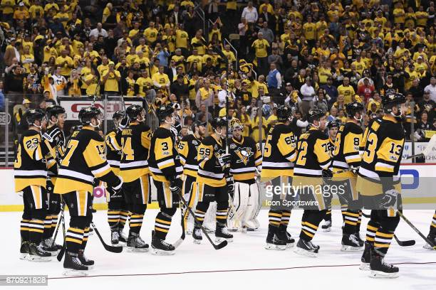 The Pittsburgh Penguins salute the fan after wining the Round 1 series in five games The Pittsburgh Penguins won 52 in Game Five of the Eastern...