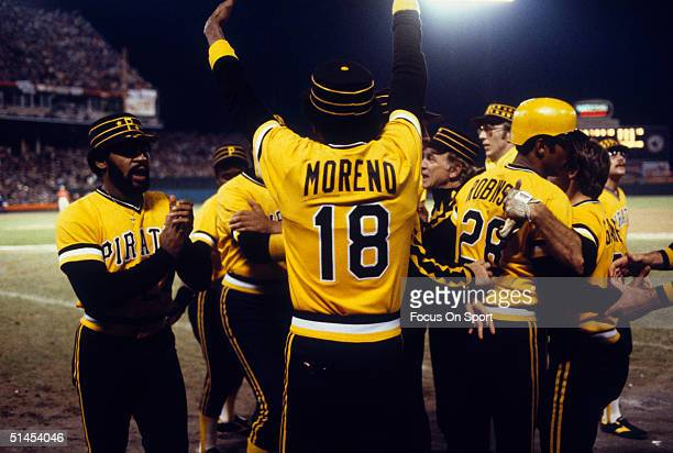 The Pittsburgh Pirates celebrate after winning Game Seven of the World Series at Memorial Stadium on October 17 1979 in Baltimore Maryland The...