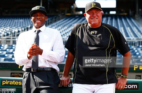 The Pittsburgh Pirates supplemental first round draft pick Ke'Bryan Hayes talks with manager Clint Hurdle during batting practice prior to the game...