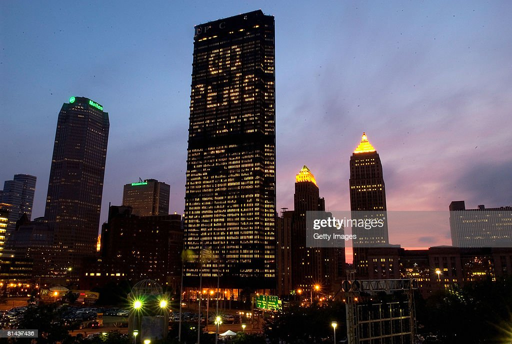 The Pittsburgh skyline during game six of the 2008 NHL Stanley Cup Finals between the Detroit Red Wings and the Pittsburgh Penguins at Mellon Arena...