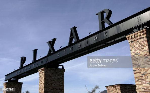 The Pixar logo is seen at the main gate of Pixar Animation Studios January 19 2006 in Emeryville California The Walt Disney Co is reportedly in talks...