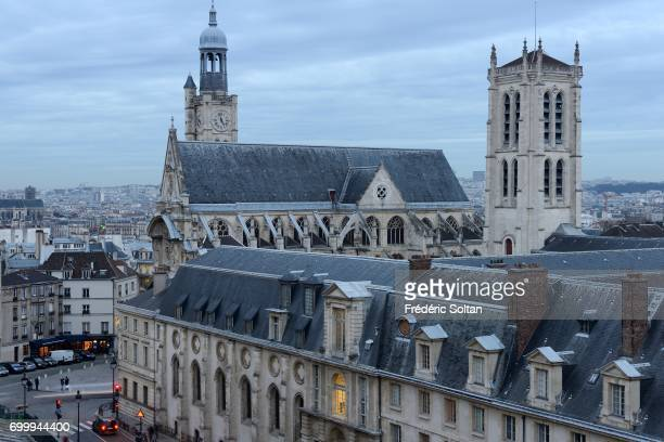 The place of Pantheon the church SaintEtienneduMont and the college Henry IV in Paris on January 8 2017 in Paris France