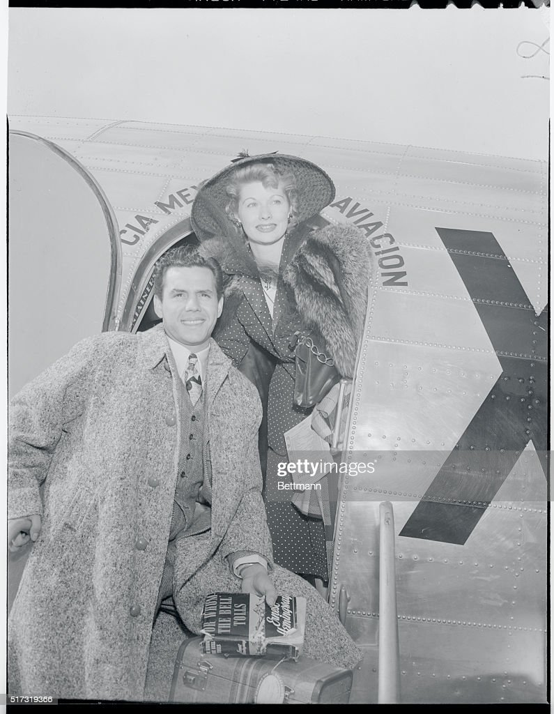 The place shown is the Grand Central Airport in Glendale California as filmsters and husband and wife team Desi Arnaz and Lucille Ball leave for the...