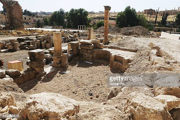 The place where statue of Aphrodite was uncovered last month in the ancient city of Jerash Jordan on June 14 2016 Archaeological excavations in...