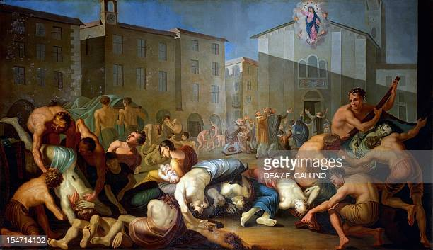 The plague of 1630 1810 fresco by Luigi Vacca Collegiate Church of Saints Peter and Paul Carmagnola Italy 19th century