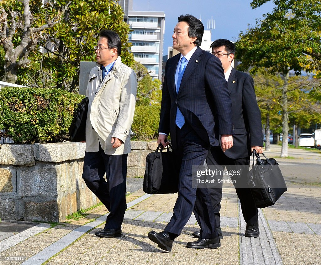 The plaintiff lawyer group enter to Hiroshima High Court on March 25, 2013 in Hiroshima, Japan. In a landmark decision, the Hiroshima High Court ruled on March 25 that the results of the Dec. 16 Lower House election in two constituencies were invalid due to the wide gap in the value of votes.