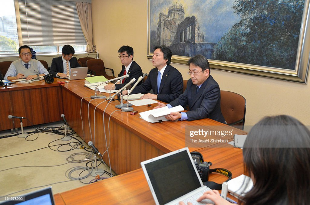 The plaintiff lawyer group hold a press conference on March 25, 2013 in Hiroshima, Japan. In a landmark decision, the Hiroshima High Court ruled on March 25 that the results of the Dec. 16 Lower House election in two constituencies were invalid due to the wide gap in the value of votes.