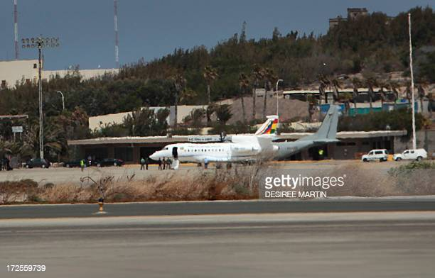 The plane of Bolivia's President Evo Morales is pictured after landing at Las Palmas airport on the Spanish Canary Island of Gran Canaria on July 3...