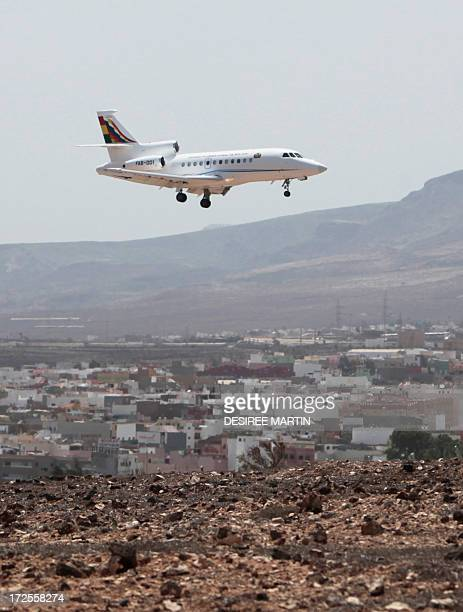 The plane of Bolivia's President Evo Morales lands at Las Palmas airport on the Spanish Canary Island of Gran Canaria on July 3 2013 Bolivia's...