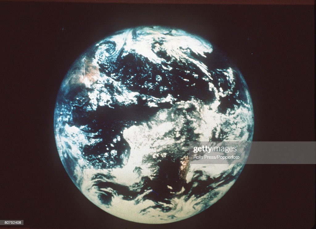 The planet Earth as seen from Apollo 15 in space, 1971