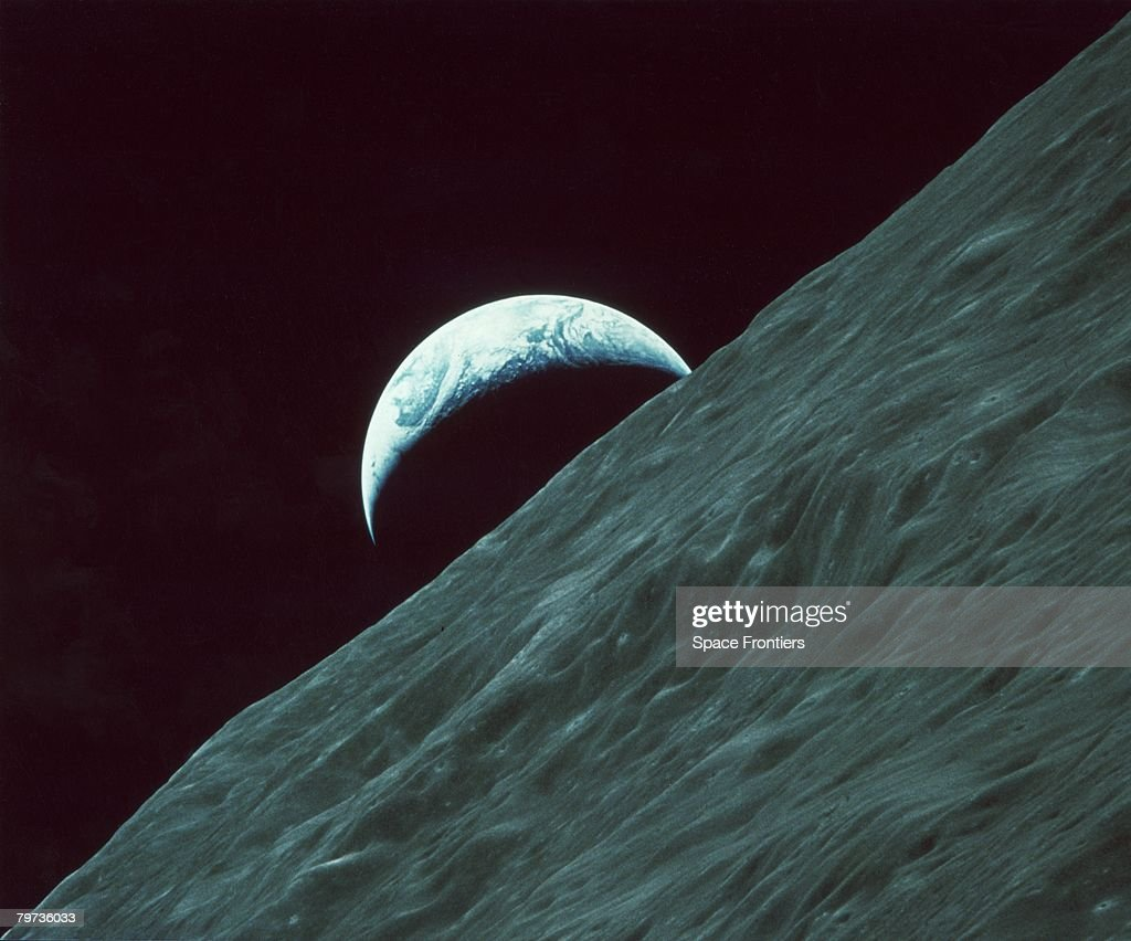 The planet Earth as seen from the surface of the moon during the Apollo 17 lunar landing mission, December 1972.