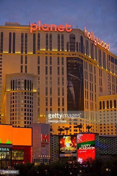 The Planet Hollywood Hotel Casino is illuminated at sunset on December 23 2010 in Las Vegas Nevada Las Vegas the popular Southwest desert tourist...