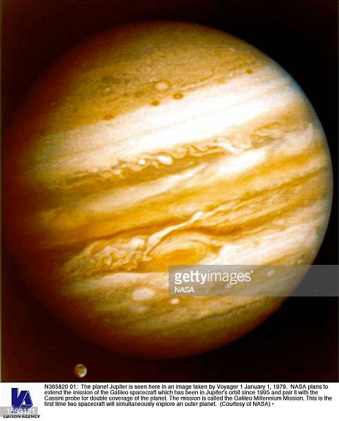 The planet Jupiter is seen here in an image taken by Voyager 1 January 1 1979 NASA plans to extend the mission of the Galileo spacecraft which has...