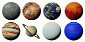 artistic depiction of the solar system planets