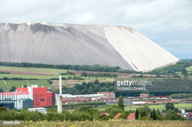 The plant 'Wintershall' with the potash tailings pile of the KS Kali GmbH factory Werra is pictured in Heringen Germany on August 29 2015 The size of...