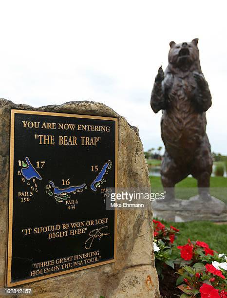 The plaque displaying the beginning of the 'Bear Trap' is displayed during the first round of the Honda Classic at PGA National Resort and Spa on...