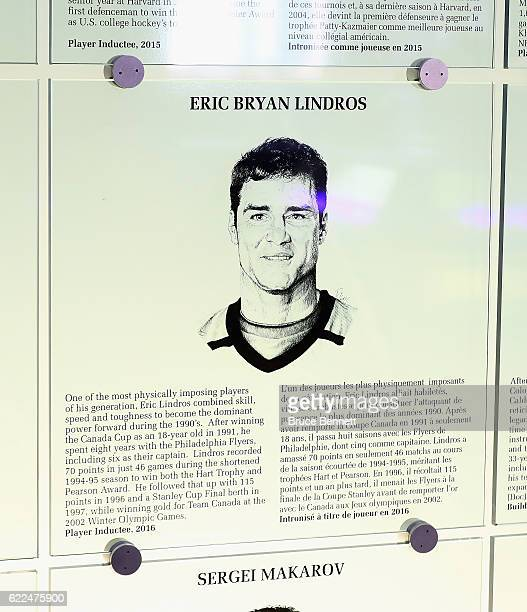 The plaque for Eric Lindros hangs on the wall during the Hall of Fame Induction photo opportunity at the Hockey Hall Of Fame on November 11 2016 in...