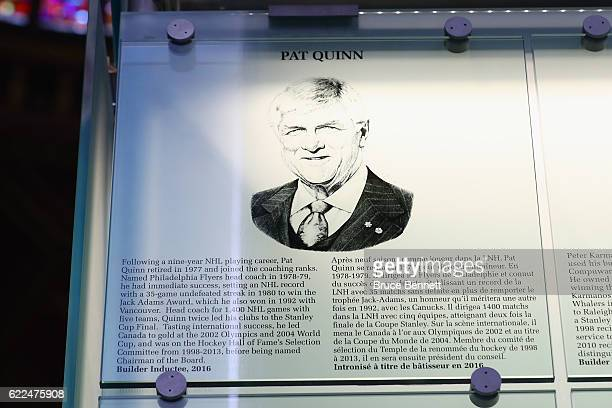 The plaque for Pat Quinn hangs on the wall during the Hall of Fame Induction photo opportunity at the Hockey Hall Of Fame on November 11 2016 in...