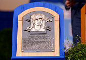 The plaque for Randy Johnson is displayed during the Hall of Fame Induction Ceremony at National Baseball Hall of Fame on July 26 2015 in Cooperstown...