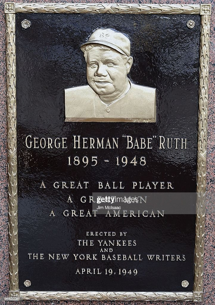 The plaque of Babe Ruth is seen in Monument Park at Yankee Stadium prior to game between the New York Yankees and the Chicago White Sox on May 2, 2010 in the Bronx borough of New York City. The Yankees defeated the White Sox 12-3.