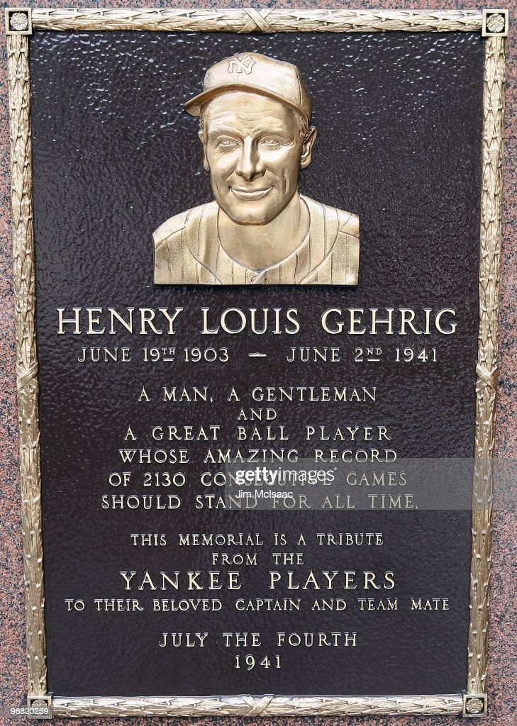 The plaque of Lou Gehrig is seen in Monument Park at Yankee Stadium prior to game between the New York Yankees and the Chicago White Sox on May 2, 2010 in the Bronx borough of New York City. The Yankees defeated the White Sox 12-3.