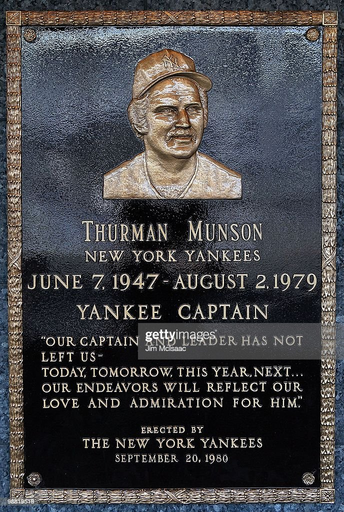 The plaque of <a gi-track='captionPersonalityLinkClicked' href=/galleries/search?phrase=Thurman+Munson&family=editorial&specificpeople=217737 ng-click='$event.stopPropagation()'>Thurman Munson</a> is seen in Monument Park at Yankee Stadium prior to game between the New York Yankees and the Chicago White Sox on May 2, 2010 in the Bronx borough of New York City. The Yankees defeated the White Sox 12-3.