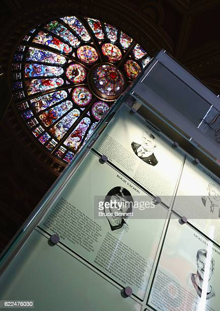 The plaques for Pat Quinn and Rogatien Vachon hang on the wall during the Hall of Fame Induction photo opportunity at the Hockey Hall Of Fame on...