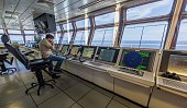 The platform's control room of La Muralla IV exploration oil rig operated by Mexican company 'Grupo R' and working for Mexico's stateowned oil...