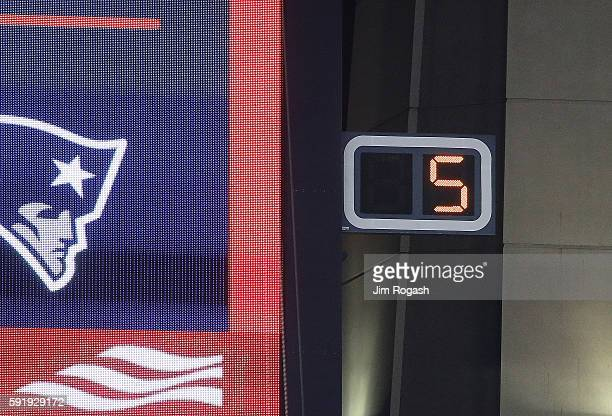 The play clock is displayed during a preseason game at Gillette Stadium between the New England Patriots and the Chicago Bears on August 18 2016 in...