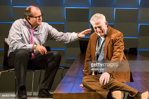 The play 'Der Kredit' by Jordi Galceran at Komoedie at Kurfuestendamm with Markus Majeweski and Ilja Richter director Martin Woelffer