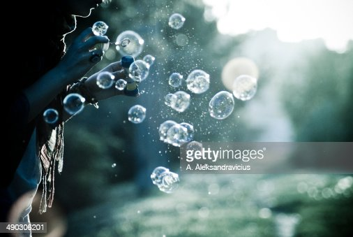 The Play with Bubbles at Sunset