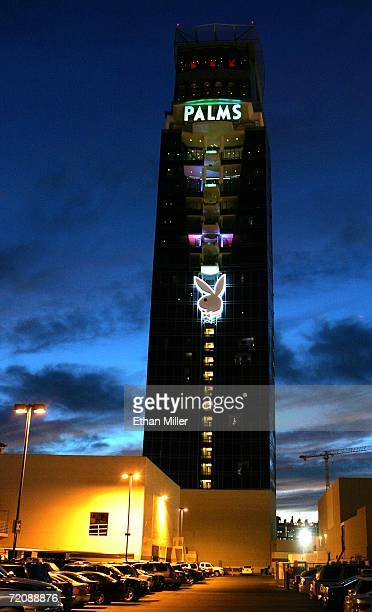 The Playboy logo embellishes the new Fantasy Tower at the Palms Casino Resort October 4 2006 in Las Vegas Nevada The firstever Las Vegas Playboy Club...