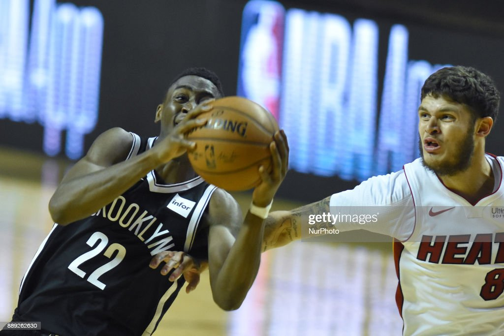 the player Caris Levert of the team Brooklyn Nets is seen in action during the match of NBA between of Miami Heat and Brooklyn Nets on December 09, 2017 in México City, Mexico