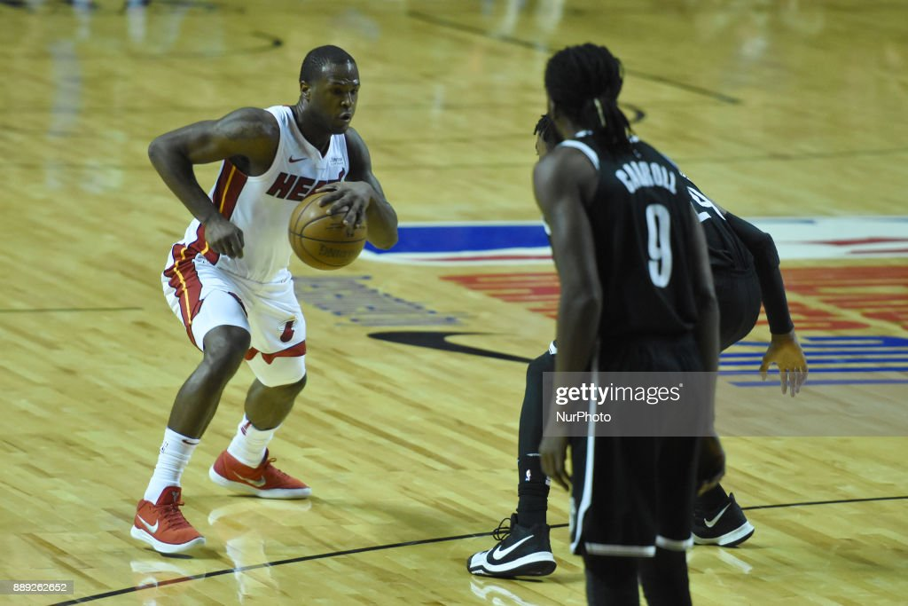 the player Dion Waiters of the team Miami Heat is seen in action during the match of NBA between of Miami Heat and Brooklyn Nets on December 09, 2017 in México City, Mexico