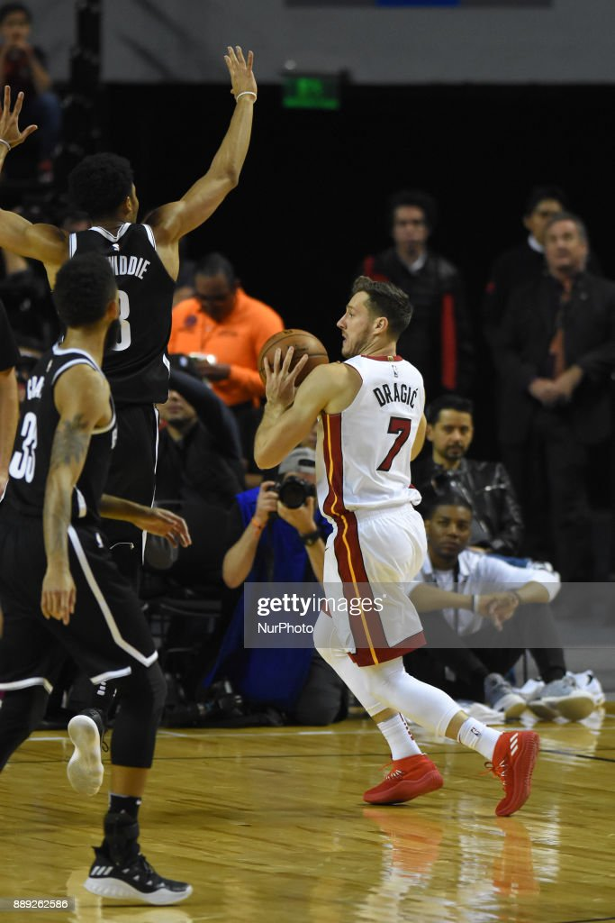 the player Goran Dragic of the teamMiami Heat is seen in action during the match of NBA between of Miami Heat and Brooklyn Nets on December 09, 2017 in México City, Mexico
